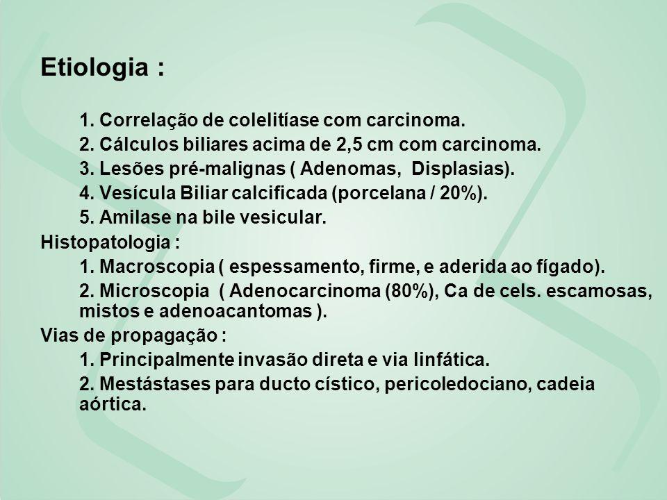 Etiologia : 1. Correlação de colelitíase com carcinoma. 2. Cálculos biliares acima de 2,5 cm com carcinoma. 3. Lesões pré-malignas ( Adenomas, Displas
