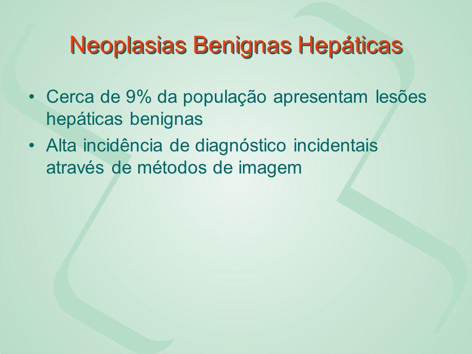 Neoplasias Benignas Hepáticas Cerca de 9% da população apresentam lesões hepáticas benignas Alta incidência de diagnóstico incidentais através de méto