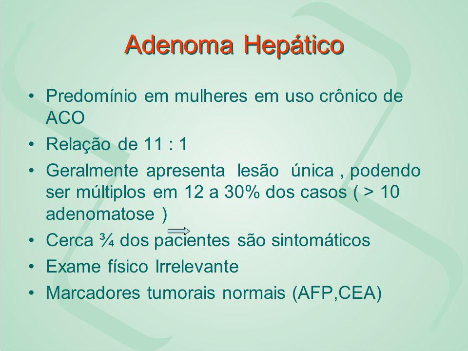 Adenoma Hepático Predomínio em mulheres em uso crônico de ACO Relação de 11 : 1 Geralmente apresenta lesão única, podendo ser múltiplos em 12 a 30% do