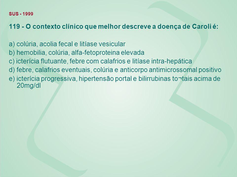 SUS - 1999 119 - O contexto clínico que melhor descreve a doença de Caroli é: a) colúria, acolia fecal e litíase vesicular b) hemobilia, colúria, alfa