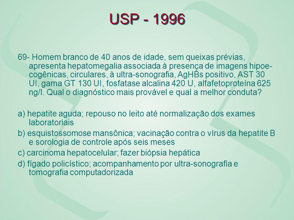 USP - 1996 69- Homem branco de 40 anos de idade, sem queixas prévias, apresenta hepatomegalia associada à presença de imagens hipoe cogênicas, circul