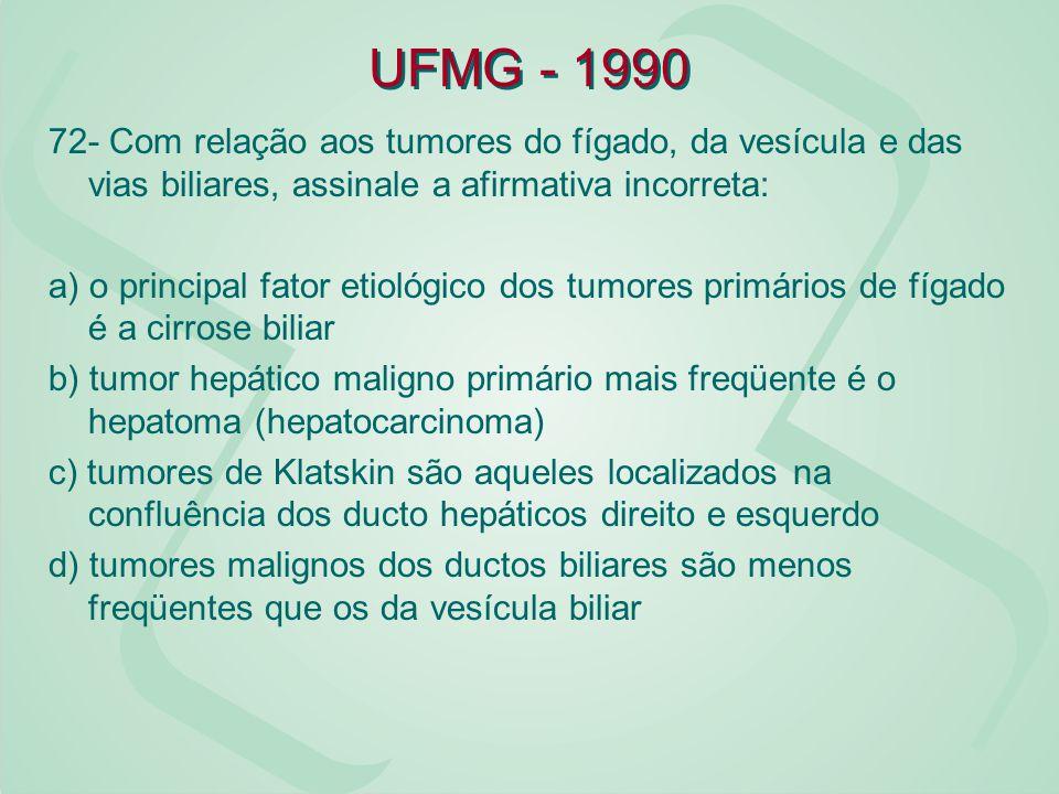 UFMG - 1990 72- Com relação aos tumores do fígado, da vesícula e das vias biliares, assinale a afirmativa incorreta: a) o principal fator etiológico d