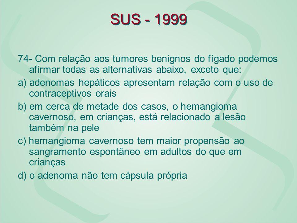 SUS - 1999 74- Com relação aos tumores benignos do fígado podemos afirmar todas as alternativas abaixo, exceto que: a) adenomas hepáticos apresentam r