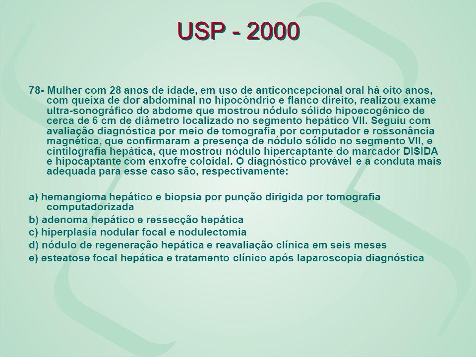 USP - 2000 78- Mulher com 28 anos de idade, em uso de anticoncepcional oral há oito anos, com queixa de dor abdominal no hipocôndrio e flanco direito,