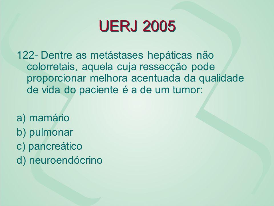 UERJ 2005 122- Dentre as metástases hepáticas não colorretais, aquela cuja ressecção pode proporcionar melhora acentuada da qualidade de vida do pacie
