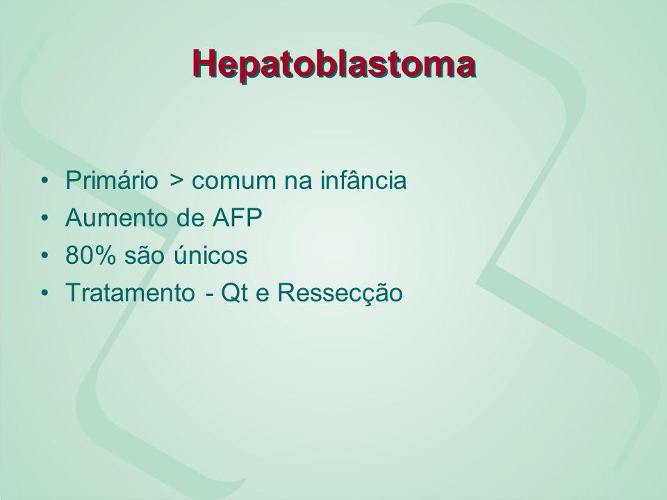 Hepatoblastoma Primário > comum na infância Aumento de AFP 80% são únicos Tratamento - Qt e Ressecção