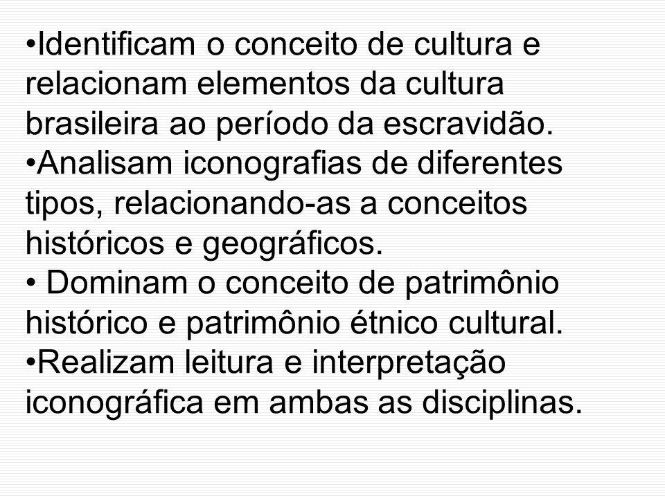 Identificam o conceito de cultura e relacionam elementos da cultura brasileira ao período da escravidão. Analisam iconografias de diferentes tipos, re