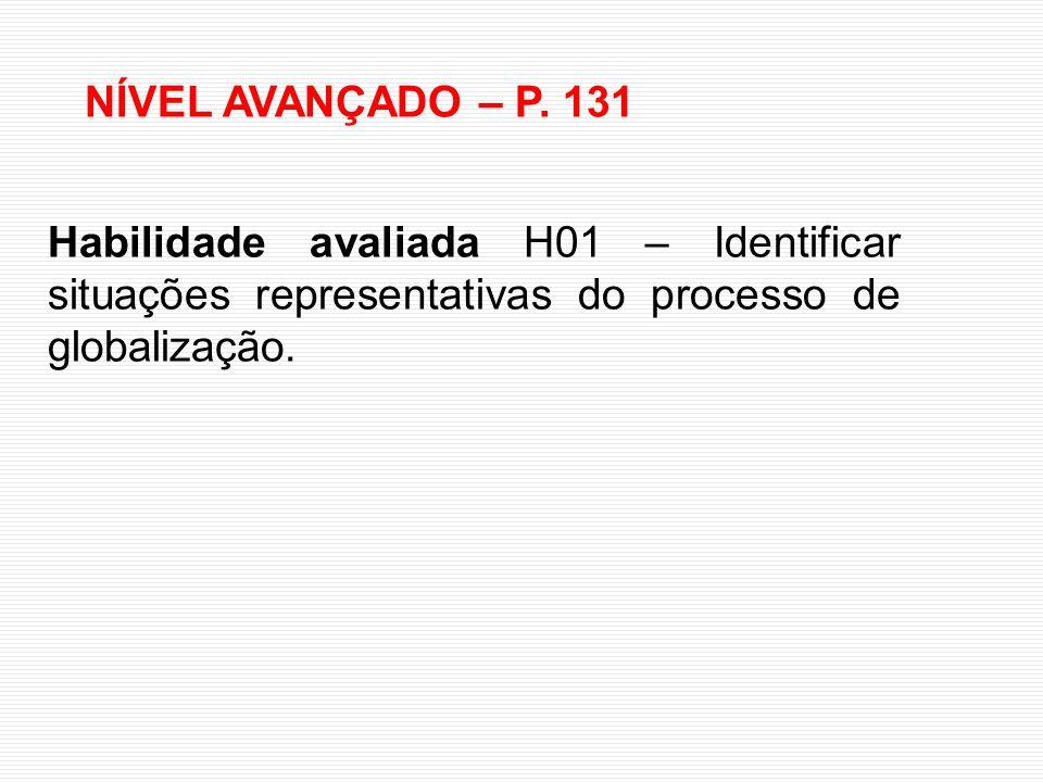 NÍVEL AVANÇADO – P. 131 Habilidade avaliada H01 – Identificar situações representativas do processo de globalização.
