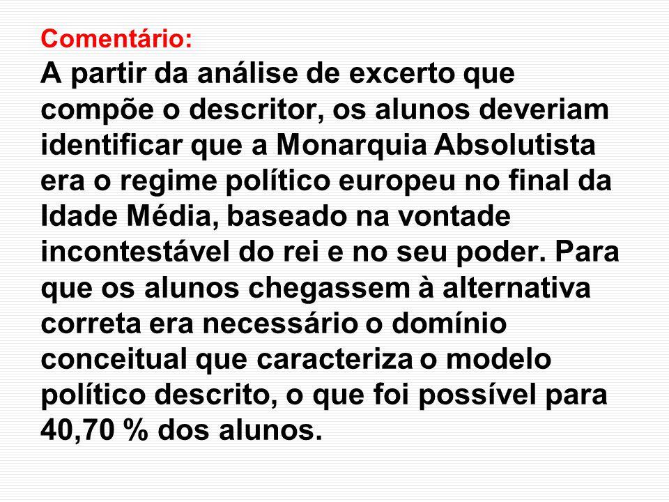 Comentário: A partir da análise de excerto que compõe o descritor, os alunos deveriam identificar que a Monarquia Absolutista era o regime político eu