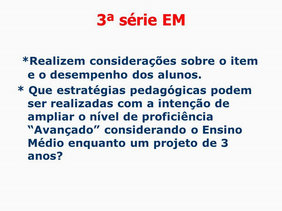 3ª série EM *Realizem considerações sobre o item e o desempenho dos alunos. * Que estratégias pedagógicas podem ser realizadas com a intenção de ampli