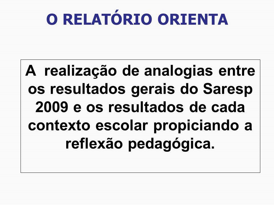 A realização de analogias entre os resultados gerais do Saresp 2009 e os resultados de cada contexto escolar propiciando a reflexão pedagógica. O RELA
