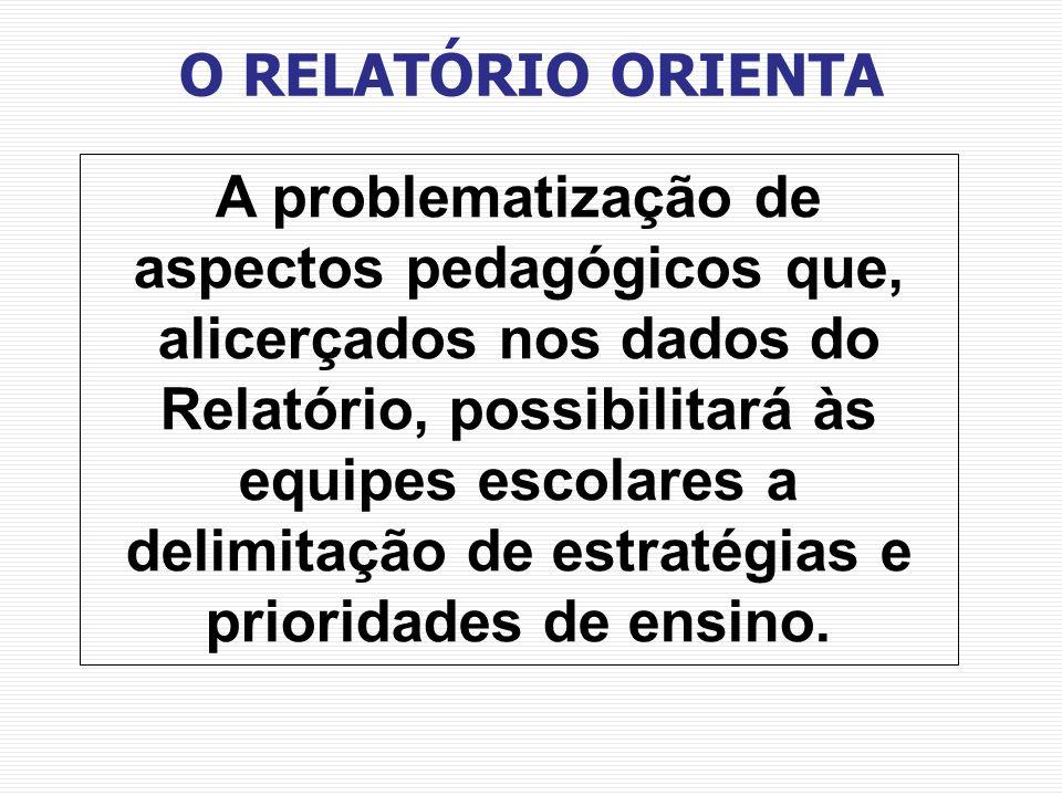 A problematização de aspectos pedagógicos que, alicerçados nos dados do Relatório, possibilitará às equipes escolares a delimitação de estratégias e p