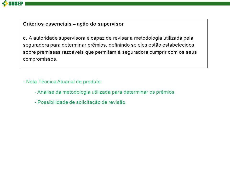 Critérios essenciais – ação do supervisor c.
