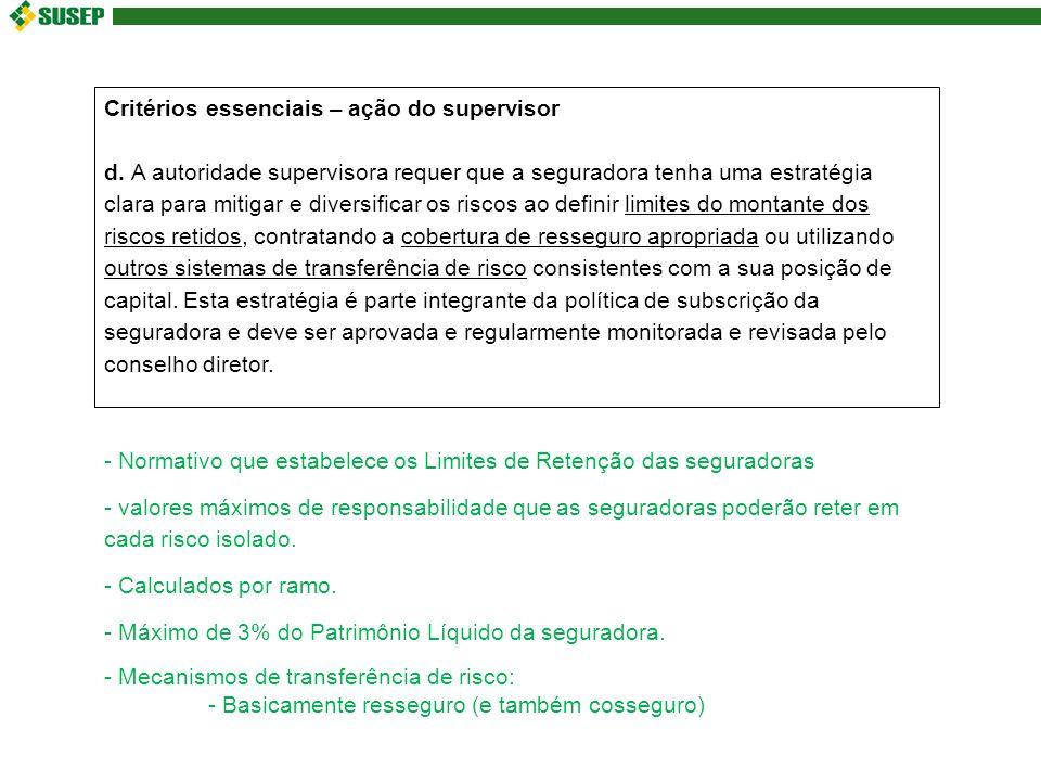 Critérios essenciais – ação do supervisor d.
