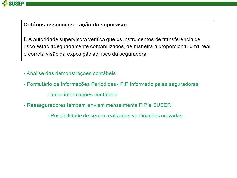 Critérios essenciais – ação do supervisor f.