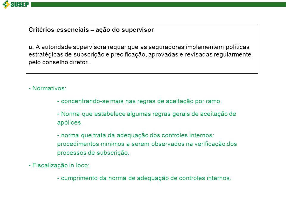 Critérios essenciais – ação do supervisor a.