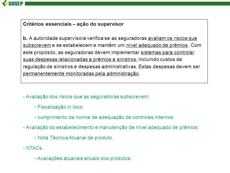 Critérios essenciais – ação do supervisor b.
