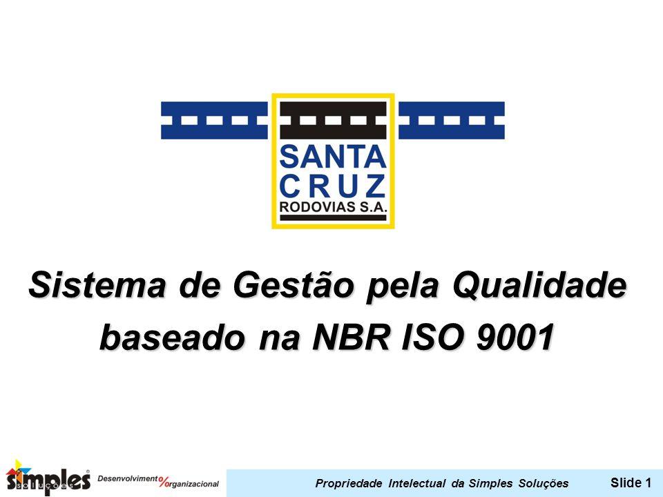 Propriedade Intelectual da Simples Soluções Slide 1 Sistema de Gestão pela Qualidade baseado na NBR ISO 9001