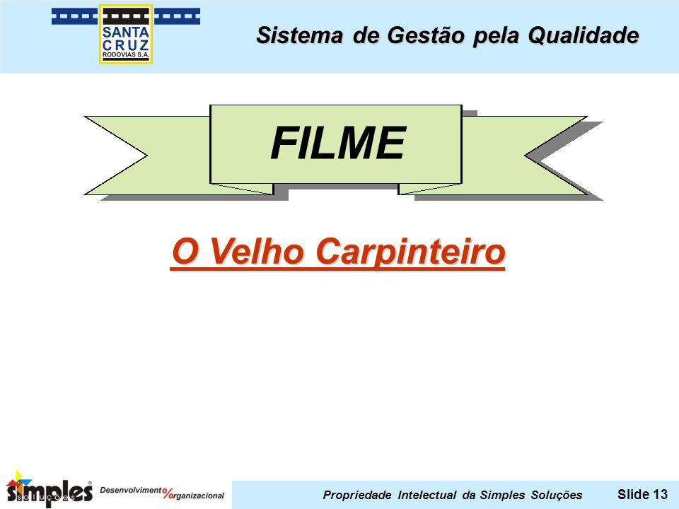 Propriedade Intelectual da Simples Soluções Slide 13 FILME Sistema de Gestão pela Qualidade O Velho Carpinteiro O Velho Carpinteiro