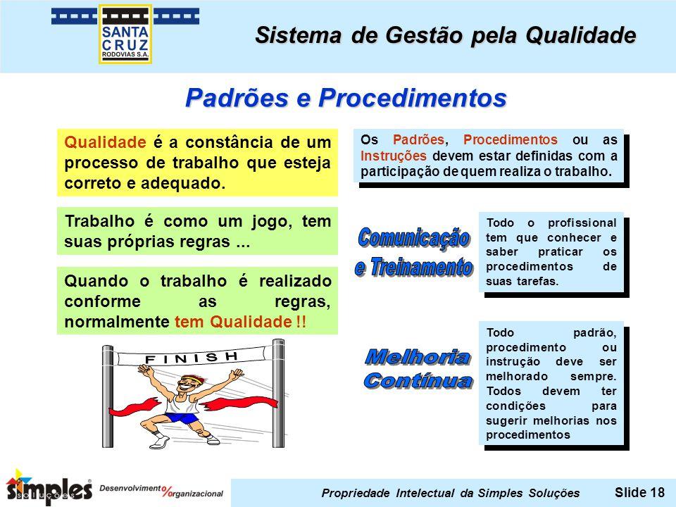 Propriedade Intelectual da Simples Soluções Slide 18 Padrões e Procedimentos Qualidade é a constância de um processo de trabalho que esteja correto e