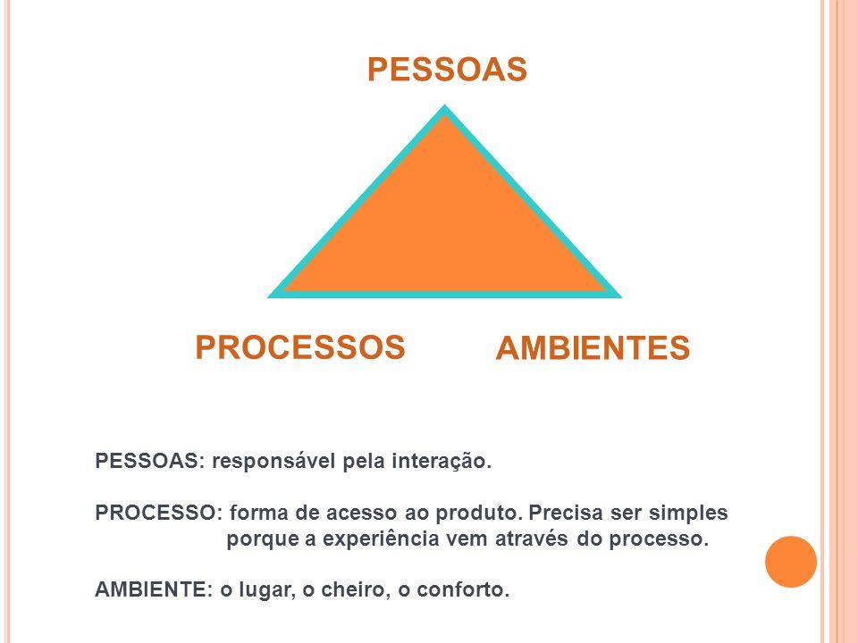 PESSOAS PROCESSOS AMBIENTES PESSOAS: responsável pela interação. PROCESSO: forma de acesso ao produto. Precisa ser simples porque a experiência vem at