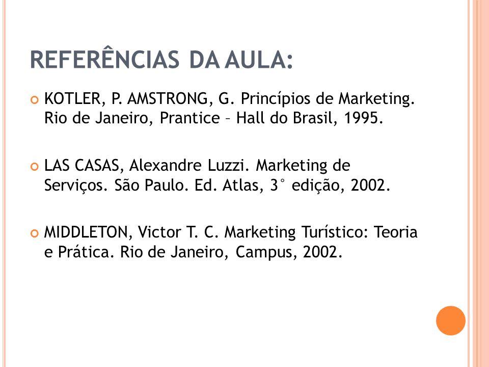 REFERÊNCIAS DA AULA: KOTLER, P. AMSTRONG, G. Princípios de Marketing. Rio de Janeiro, Prantice – Hall do Brasil, 1995. LAS CASAS, Alexandre Luzzi. Mar