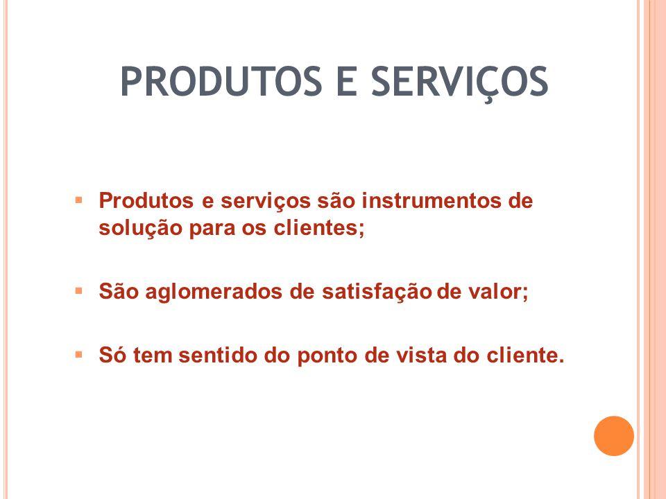 Produtos e serviços são instrumentos de solução para os clientes; São aglomerados de satisfação de valor; Só tem sentido do ponto de vista do cliente.