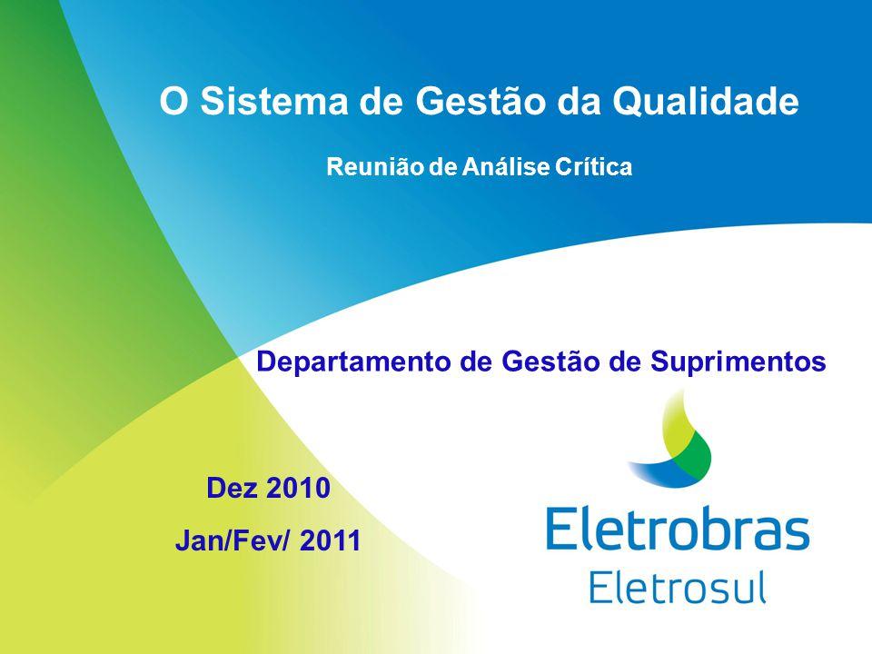 O Sistema de Gestão da Qualidade Reunião de Análise Crítica Dez 2010 Jan/Fev/ 2011 Departamento de Gestão de Suprimentos