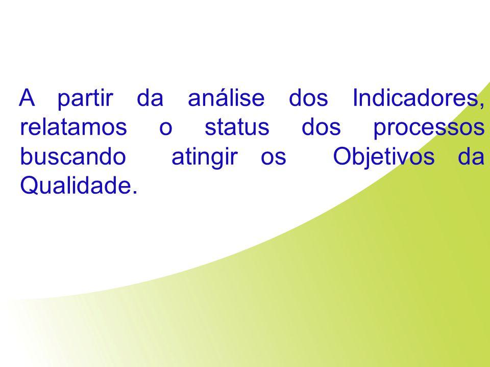 A partir da análise dos Indicadores, relatamos o status dos processos buscando atingir os Objetivos da Qualidade.
