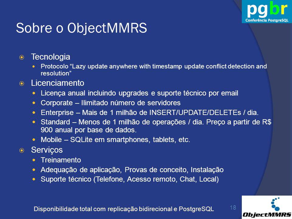 Disponibilidade total com replicação bidirecional e PostgreSQL Sobre o ObjectMMRS Tecnologia Protocolo Lazy update anywhere with timestamp update conf
