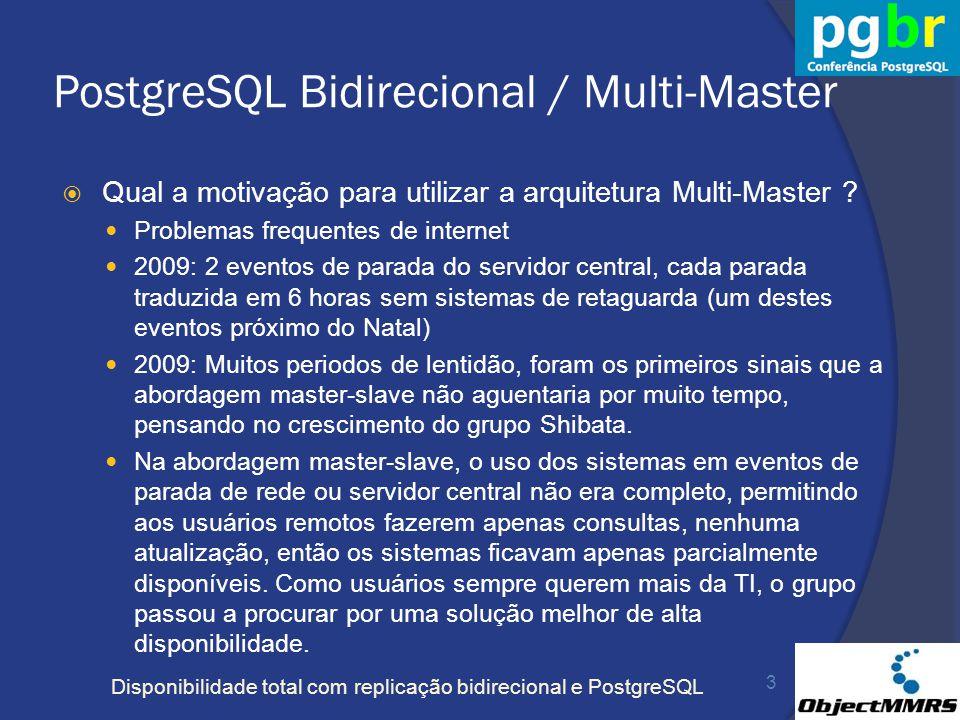Disponibilidade total com replicação bidirecional e PostgreSQL PostgreSQL Bidirecional / Multi-Master Qual a motivação para utilizar a arquitetura Mul