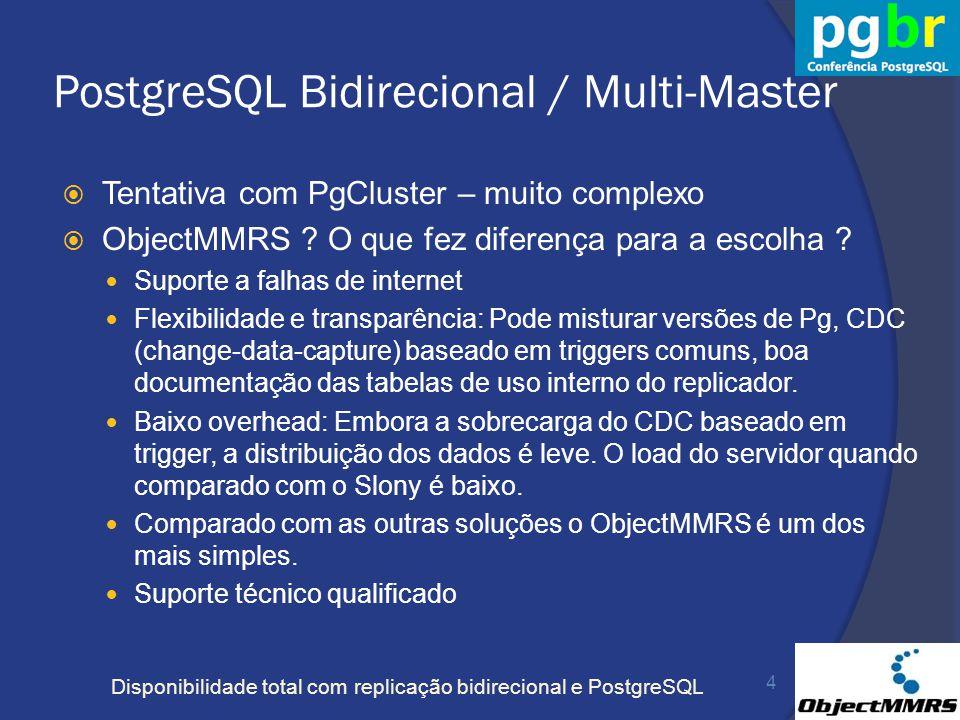 Disponibilidade total com replicação bidirecional e PostgreSQL PostgreSQL Bidirecional / Multi-Master Tentativa com PgCluster – muito complexo ObjectM