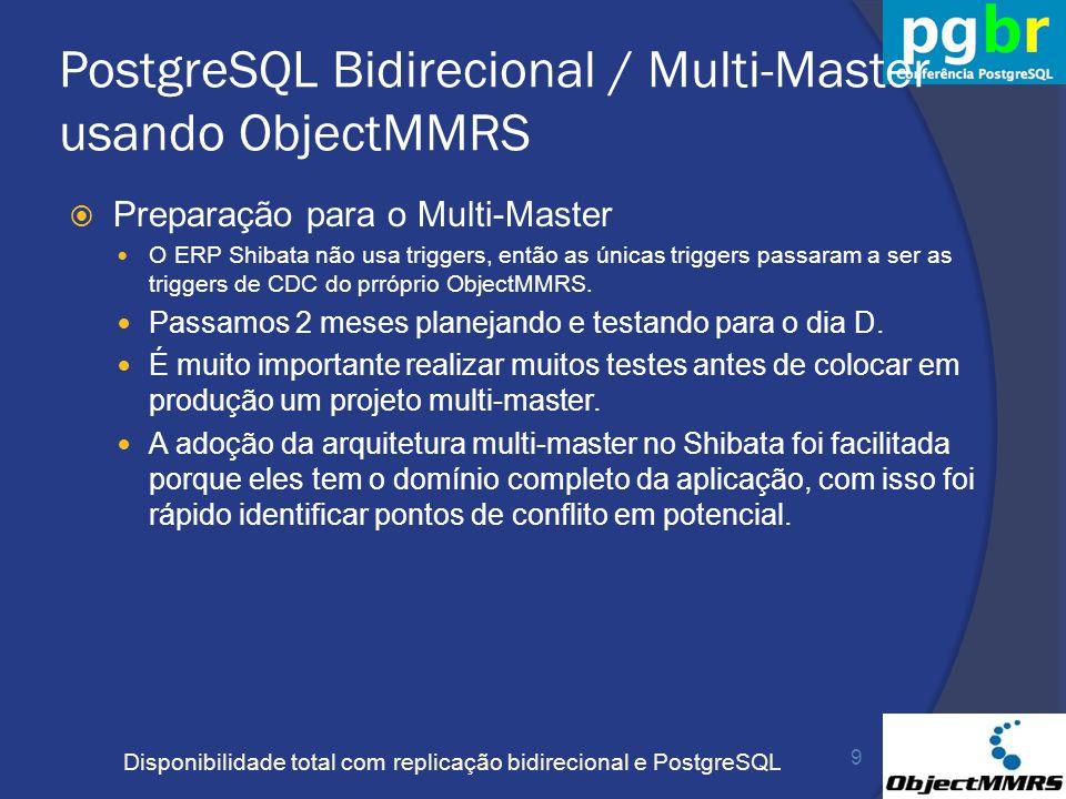 Disponibilidade total com replicação bidirecional e PostgreSQL PostgreSQL Bidirecional / Multi-Master usando ObjectMMRS Preparação para o Multi-Master