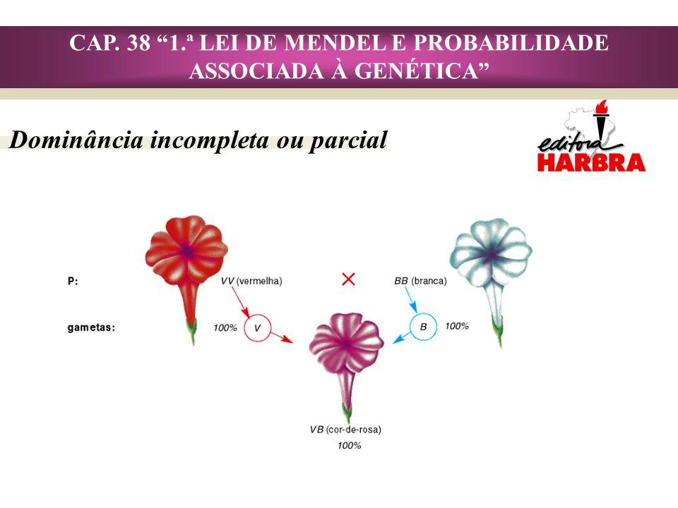 CAP. 38 1.ª LEI DE MENDEL E PROBABILIDADE ASSOCIADA À GENÉTICA Dominância incompleta ou parcial