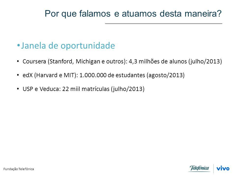Por que falamos e atuamos desta maneira? Janela de oportunidade Coursera (Stanford, Michigan e outros): 4,3 milhões de alunos (julho/2013) edX (Harvar