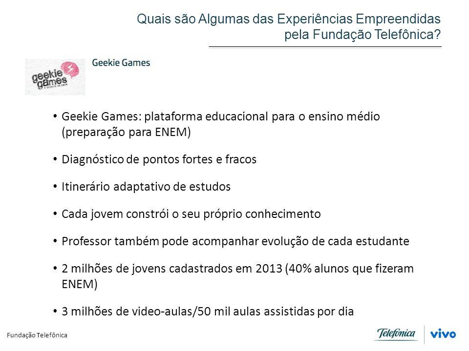 Fundação Telefônica Quais são Algumas das Experiências Empreendidas pela Fundação Telefônica? Geekie Games: plataforma educacional para o ensino médio