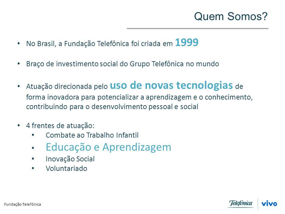 Quem Somos? No Brasil, a Fundação Telefônica foi criada em 1999 Braço de investimento social do Grupo Telefônica no mundo Atuação direcionada pelo uso