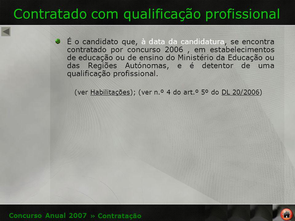 Contratado com qualificação profissional É o candidato que, à data da candidatura, se encontra contratado por concurso 2006, em estabelecimentos de educação ou de ensino do Ministério da Educação ou das Regiões Autónomas, e é detentor de uma qualificação profissional.