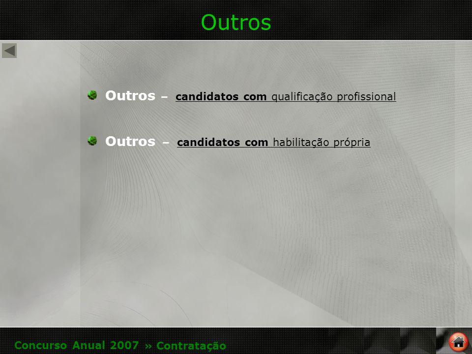 Outros Outros – candidatos com qualificação profissional candidatos com qualificação profissional Outros – candidatos com habilitação própria candidatos com habilitação própria Concurso Anual 2007 » Contratação