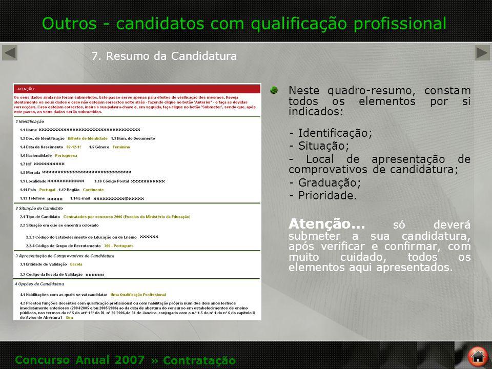 Outros - candidatos com qualificação profissional 7.
