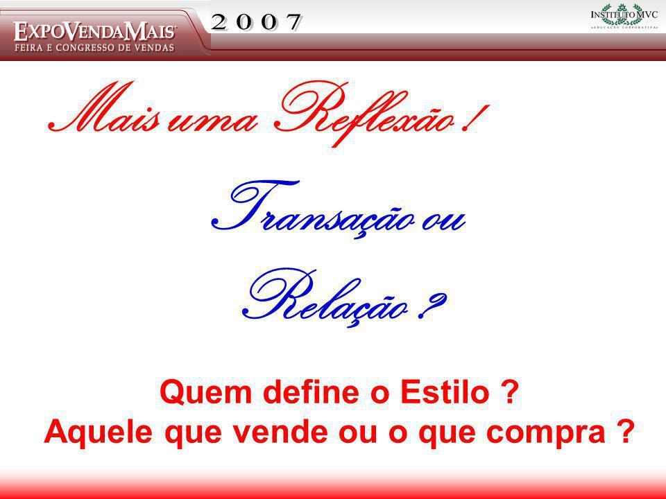 Visite nosso site: www.institutomvc.com.br Mais uma Reflexão ! Transação ou Relação ? Quem define o Estilo ? Aquele que vende ou o que compra ?