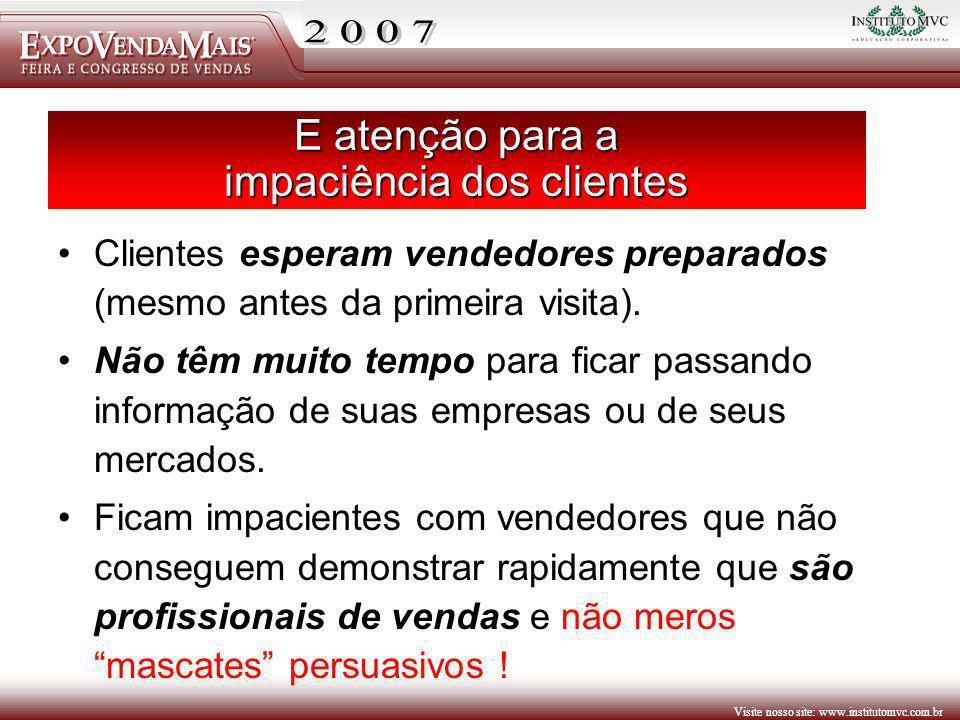 Visite nosso site: www.institutomvc.com.br E atenção para a impaciência dos clientes Clientes esperam vendedores preparados (mesmo antes da primeira v