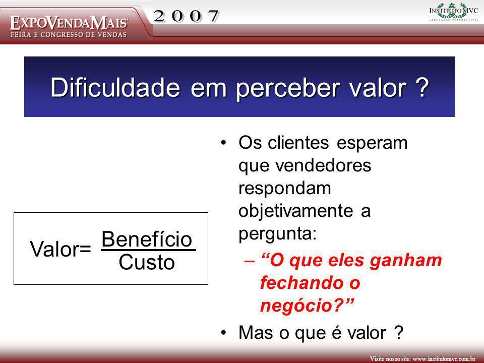 Visite nosso site: www.institutomvc.com.br Dificuldade em perceber valor ? Os clientes esperam que vendedores respondam objetivamente a pergunta: –O q
