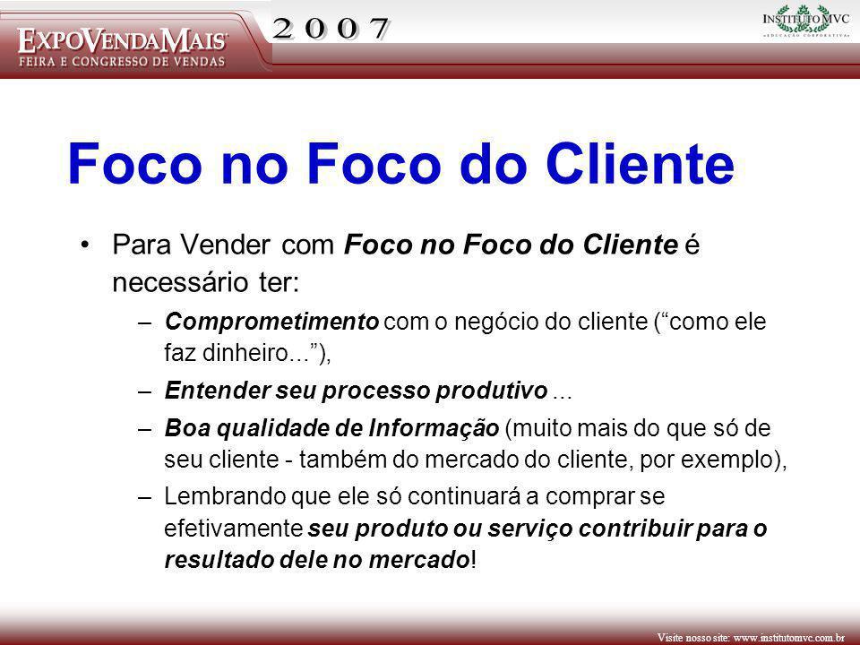 Visite nosso site: www.institutomvc.com.br Para Vender com Foco no Foco do Cliente é necessário ter: –Comprometimento com o negócio do cliente (como e