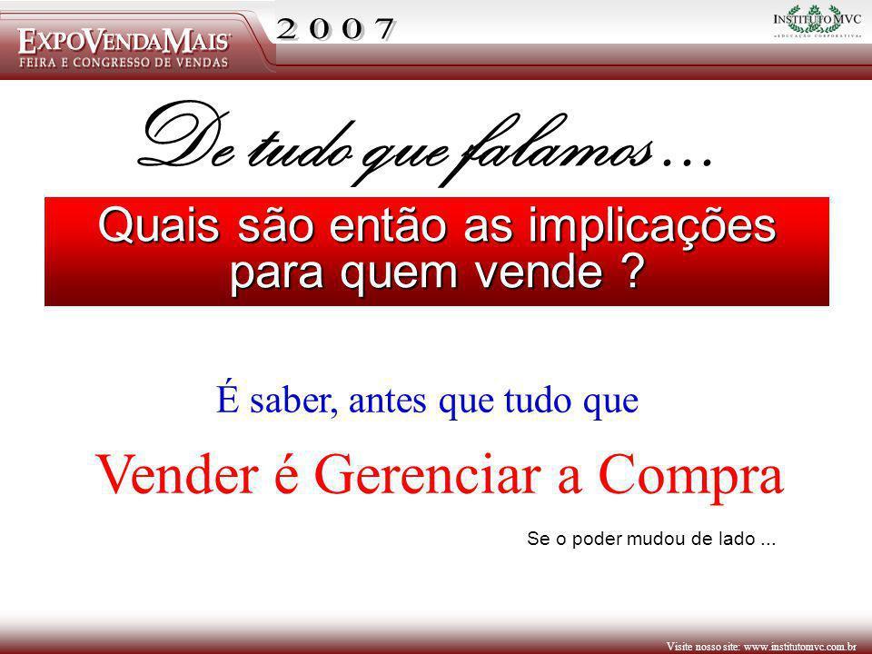 Visite nosso site: www.institutomvc.com.br Quais são então as implicações para quem vende ? Se o poder mudou de lado... De tudo que falamos... É saber