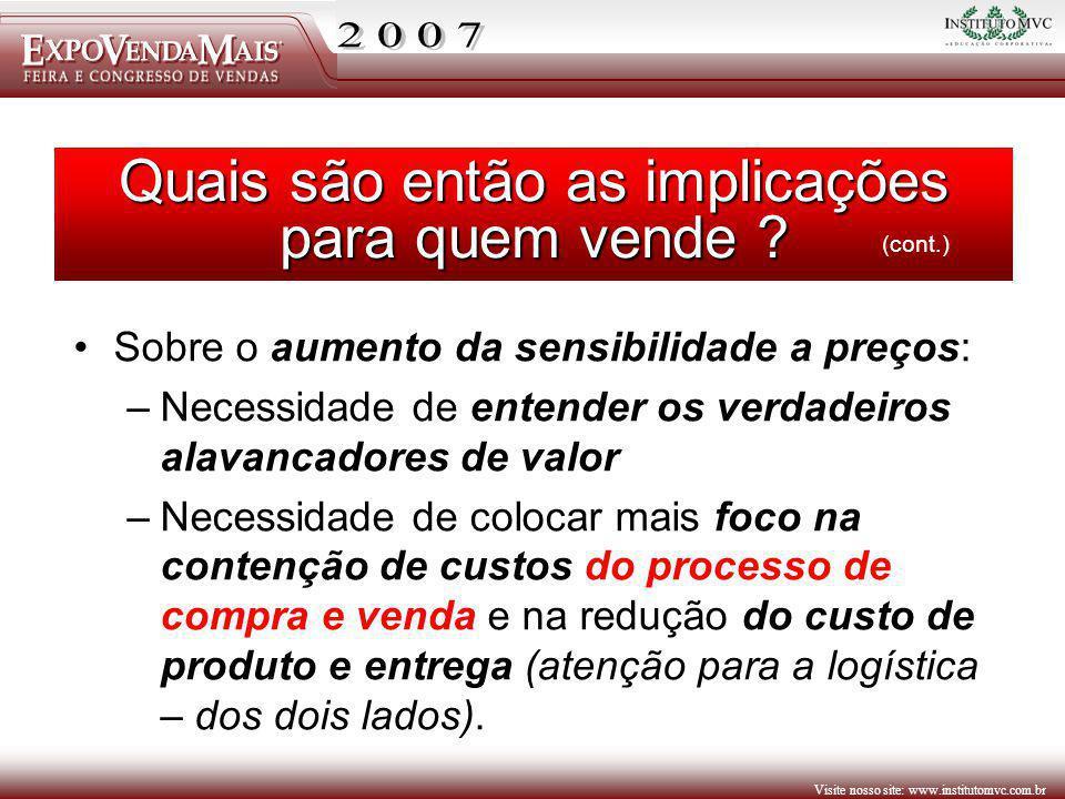 Visite nosso site: www.institutomvc.com.br Sobre o aumento da sensibilidade a preços: –Necessidade de entender os verdadeiros alavancadores de valor –