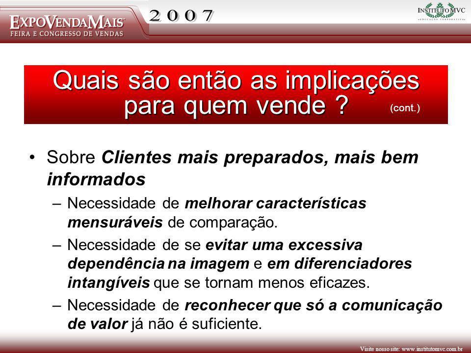 Visite nosso site: www.institutomvc.com.br Sobre Clientes mais preparados, mais bem informados –Necessidade de melhorar características mensuráveis de