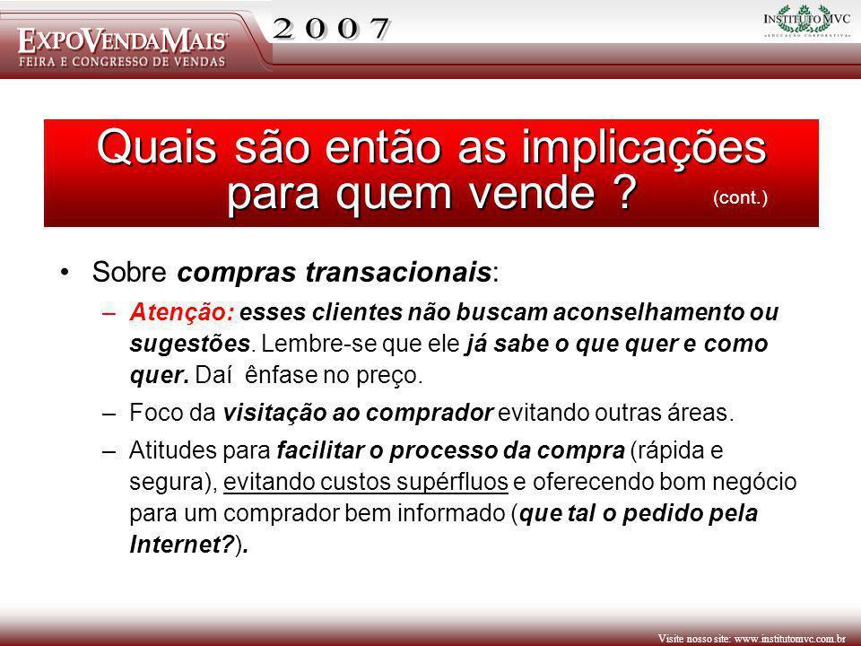 Visite nosso site: www.institutomvc.com.br Sobre compras transacionais: –Atenção: esses clientes não buscam aconselhamento ou sugestões. Lembre-se que