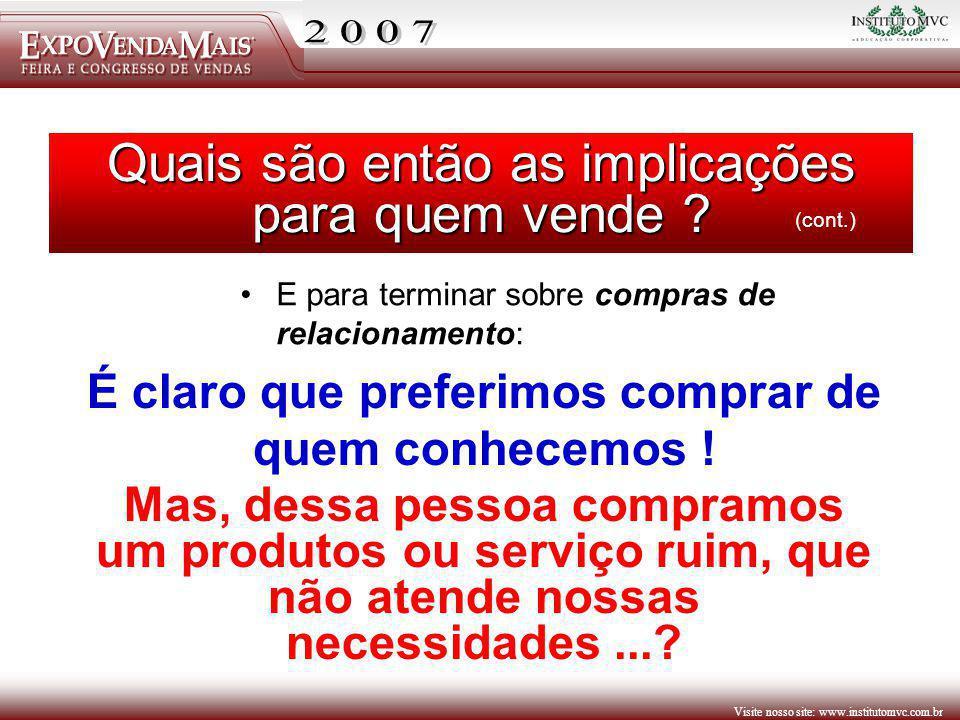Visite nosso site: www.institutomvc.com.br Quais são então as implicações para quem vende ? E para terminar sobre compras de relacionamento: (cont.) É