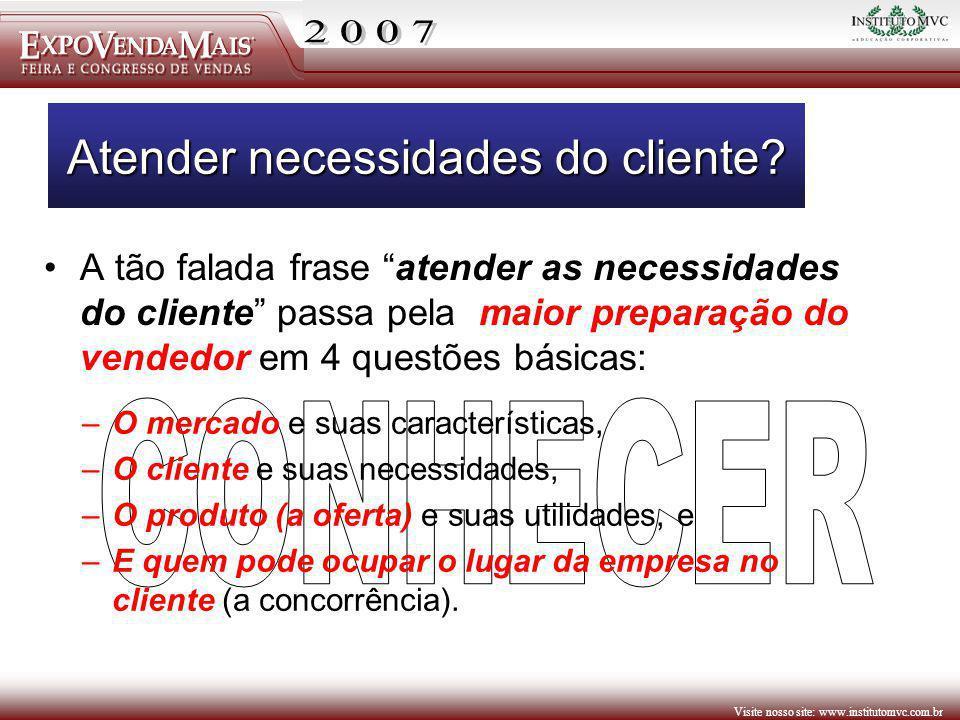 Visite nosso site: www.institutomvc.com.br Atender necessidades do cliente? A tão falada frase atender as necessidades do cliente passa pela maior pre